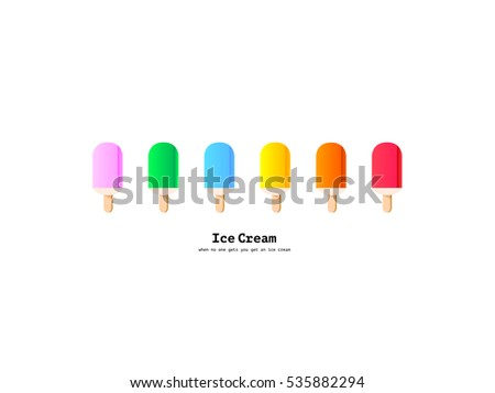 Vector rainbow colors popsicles icons set. Happy ice cream food design illustration