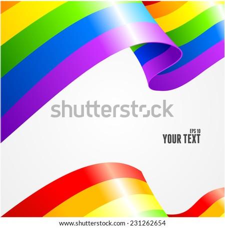 Vector rainbow flag waving on white background. Card - stock vector