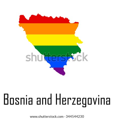 Vector rainbow map of Bosnia and Herzegovina in colors of LGBT (lesbian, gay, bisexual, and transgender) pride flag. - stock vector