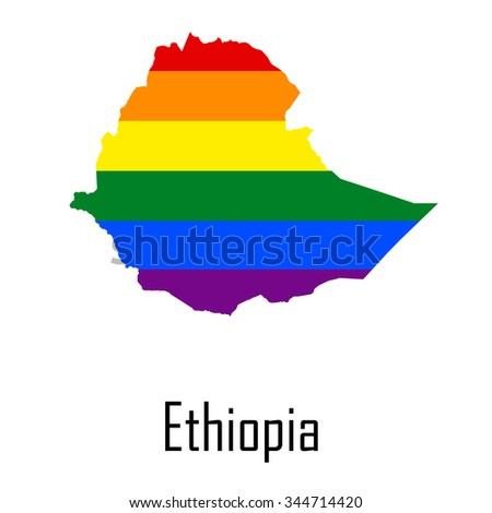 Vector rainbow map of Ethiopia in colors of LGBT (lesbian, gay, bisexual, and transgender) pride flag. - stock vector