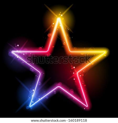 Vector - Rainbow Star Border with Sparkles and Swirls - stock vector