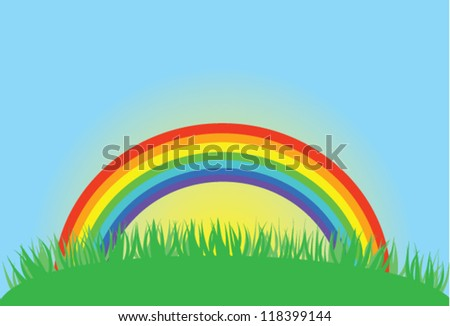 vector rainbow with sunrise and green grass