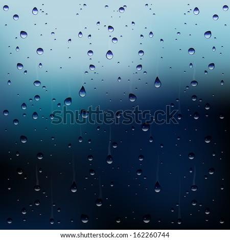 Vector raindrops on window - stock vector