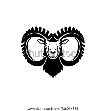 vector ram head face retro logos stock vector royalty free