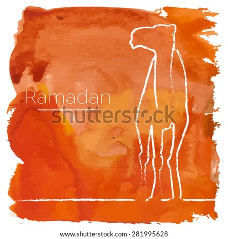 Vector Ramadan greeting with camel,  Islamic greeting card for Ramadan Kareem with aquarelle - stock vector
