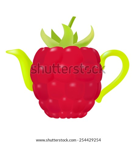 Vector Raspberry Teapot  - stock vector