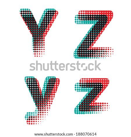 Vector raster polka dot spotted alphabet letters - stock vector