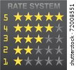 vector rate system with yellow selected and grey unselected stars. - stock photo