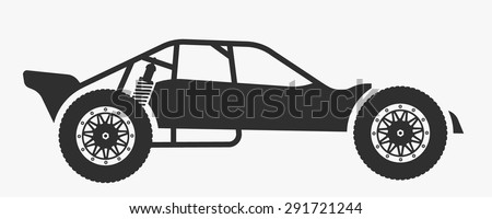 Vector rc car buggy toy isolated silhouette