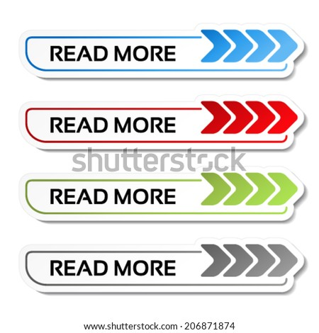 Vector read more buttons with arrows - labels on the white background - stock vector