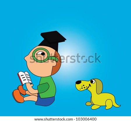 Vector - Reading.The boy is reading and his dog want to read too. - stock vector