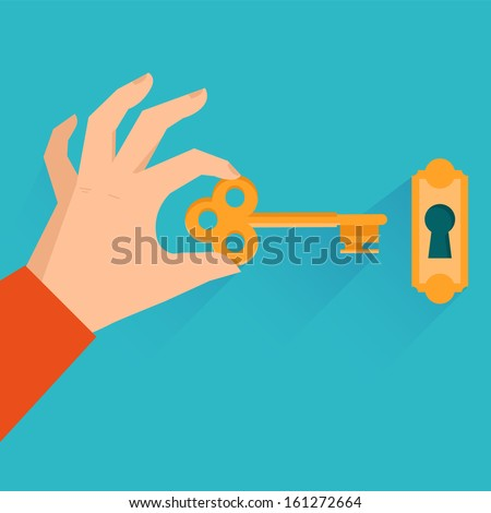 Vector real estate concept - hand holding golden key in flat style - stock vector