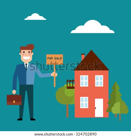 Vector real estate concept in flat style. Agent for the sale of real estate or a home buyer holding a portfolio and a sign saying the sale of real estate. Supply and demand - stock vector