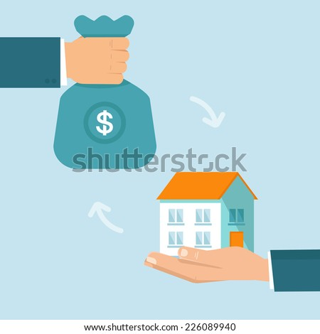 Vector real estate concept in flat style - buying and selling house - hands icons - stock vector