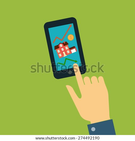Vector real estate concept in flat style - hand the man points to the screen of a mobile phone, smartphone, which shows the house as well as the curves of growth and decline of sales, the dollar sign - stock vector