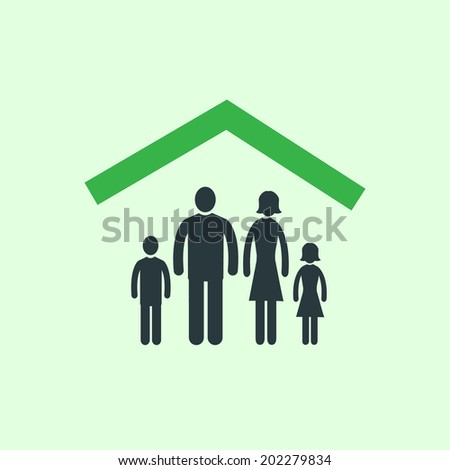 vector real estate family at home icon | modern flat design white pictogram isolated on green background