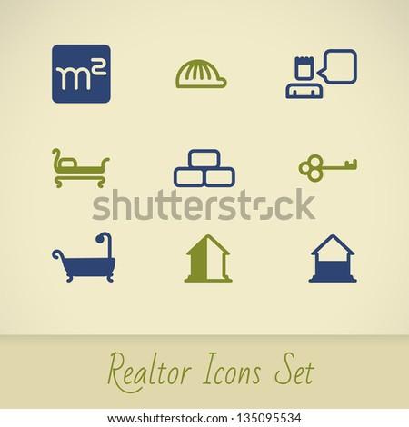 Vector real estate icons. Realtor icon set. EPS 8 - stock vector