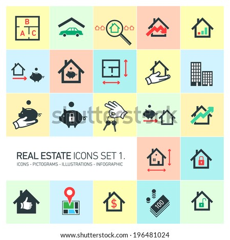 vector real estate icons set modern flat design pictograms isolated on colorful background - stock vector