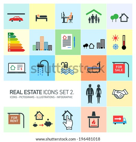 vector real estate icons set modern flat design pictograms on colorful background - stock vector