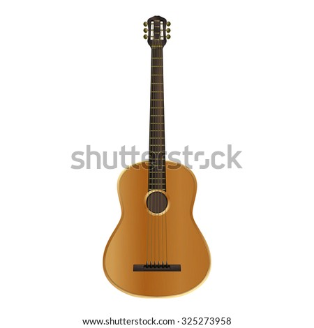 Vector realistic acoustic guitar with excellent detail and texture to the more classical style. Isolated object can be applied to any image, and change the configuration for your needs. - stock vector