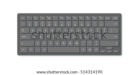 Vector realistic black keyboard. Isolated on white.