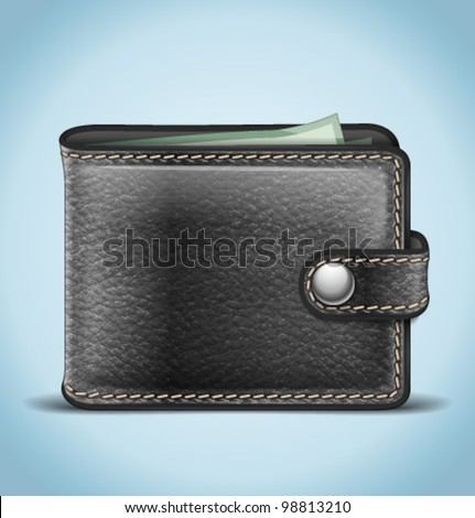 Vector Realistic Black Leather Wallet - stock vector