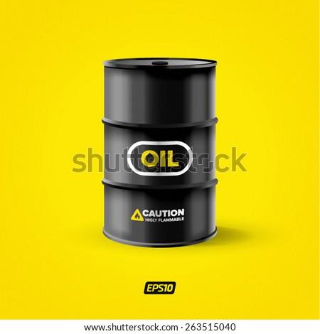 Vector realistic black metal oil barrel  - stock vector