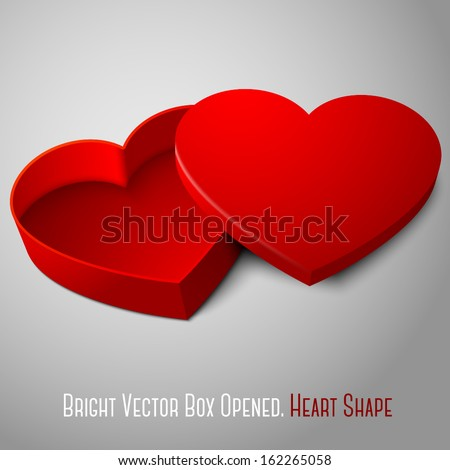 Vector realistic blank red opened heart shape box isolated on gray background. For your valentines day, wedding or love presents design.  - stock vector