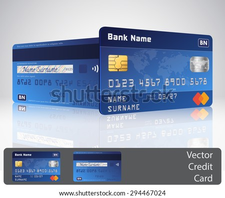 Vector realistic blue credit card with reflections