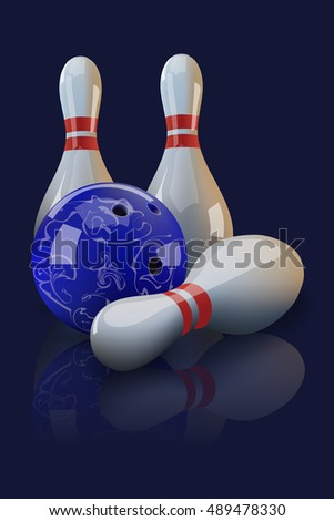Vector realistic bowling ball and three bowling pins with mirror reflection on dark blue background. Bowling poster or bowling background template.