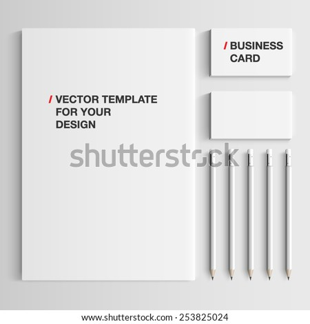 Vector realistic branding mock up, isolated on white background. - stock vector