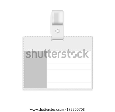 Vector Realistic Card Name or Id Holder isolated on white - stock vector