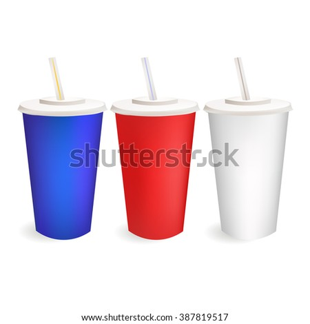 Vector Realistic Cardboard Cup Illustration . Isolated On White Background Icons