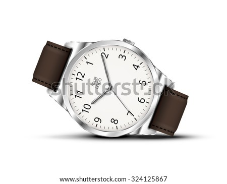 Vector realistic classic watch lay on a white background