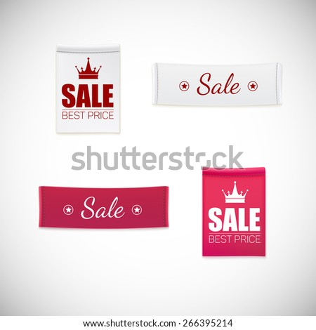 Vector realistic clothing label. Different fabric labels with stitching and advertising text - stock vector