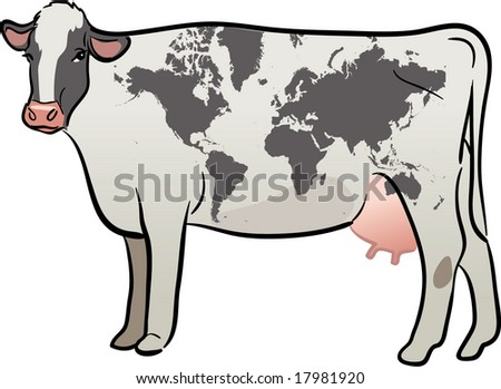 vector realistic cow with earth continents map - stock vector