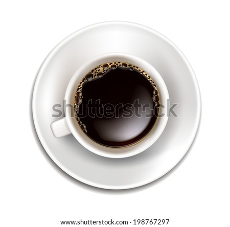 Vector Realistic Cup of Coffee Top View