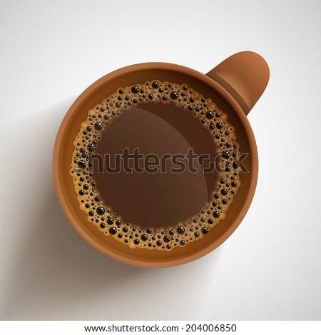 Vector realistic cup of hot coffee. - stock vector