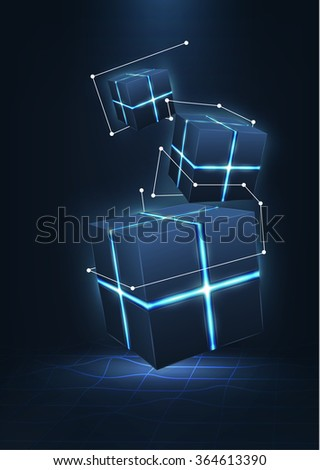 Vector realistic 3d cubes with neon parts with dots connection in dark background .Futuristic illustration - stock vector