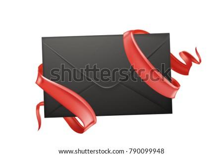 Vector realistic 3d envelope elegant red stock vector 790099948 vector realistic 3d envelope with elegant red silk ribbons valentines day holiday romantic invitation card stopboris Choice Image