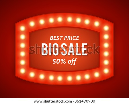 Vector realistic 3D light background.   Retro design element  frame glowing with lamps for your Advertising, Promotions.  - stock vector