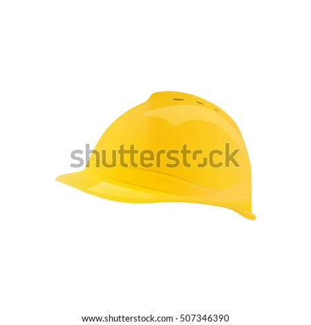 Vector realistic 3D object. Construction yellow helmet.