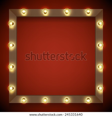 Vector realistic 3d volumetric background on marquee frame lit up with electric bulbs | Retro looking presentation design element square frame glowing with lamps - stock vector