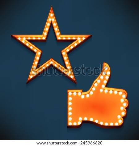 Vector realistic 3d volumetric icons on like and feature thumbs up and star symbols glowing with bulbs | Marquee thumbs up gesture and favorite star lit with lamps for social media marketing design - stock vector