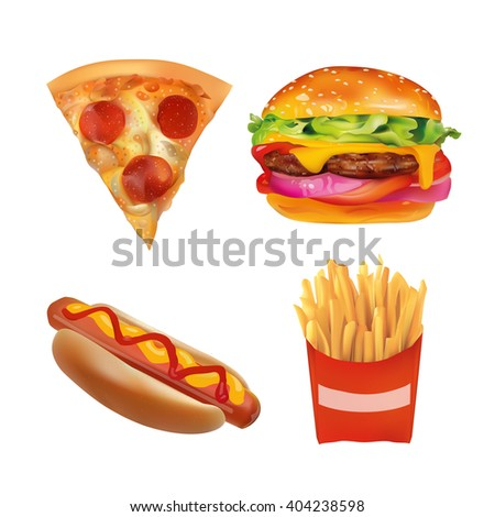 Vector Realistic fast Food Set. Burger, Pizza Slice, Beverage, Coffee, French Fries, Hot Dog,  Ketchup, Mustard. Isolated On White background icons
