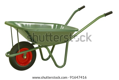 vector realistic green wheelbarrow on white background, raster version available
