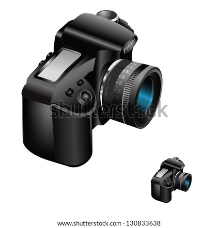 Vector realistic illustrated digital camera with zoom lens on white background