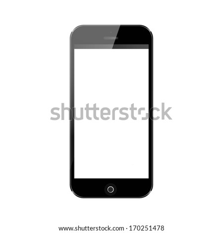 vector realistic illustration, black mobile phone with blank screen isolated on white - stock vector