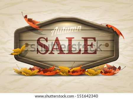 Vector realistic illustration of autumn sale wooden signboard. Elements are layered separately in vector file. - stock vector