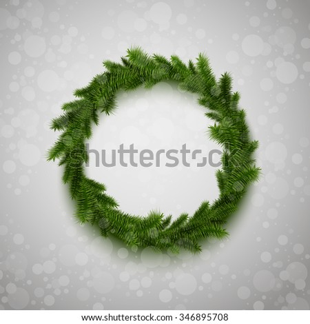 Vector realistic illustration of christmas fir wreath. Holiday illustration for your design. Bokeh effect on the gradient background. - stock vector